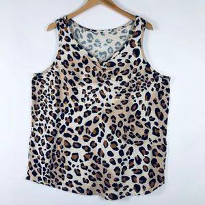 Cacique Sleepwear Leopard V Neck Tank Top Cotton